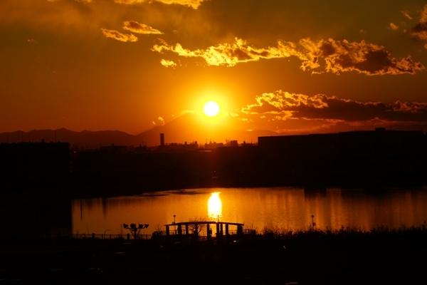 富士山に沈む夕陽.JPG
